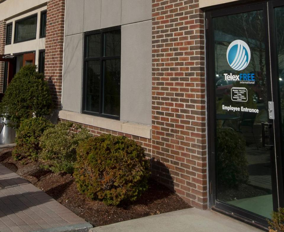 TelexFree's Marlborough offices were searched on Tuesday, the day after the company sought bankruptcy protection. Authorities allege it is simply a pyramid scheme.